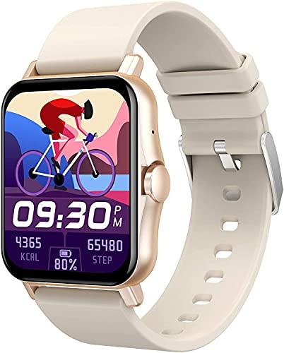 QHG Exhibición de Pantalla Completa Grande Reloj Inteligente para Hombres Mujeres Bluetooth Call Music Control Fitness Tracker Cuerpo Salud Medida Actividad Tracker (Color : Gold)