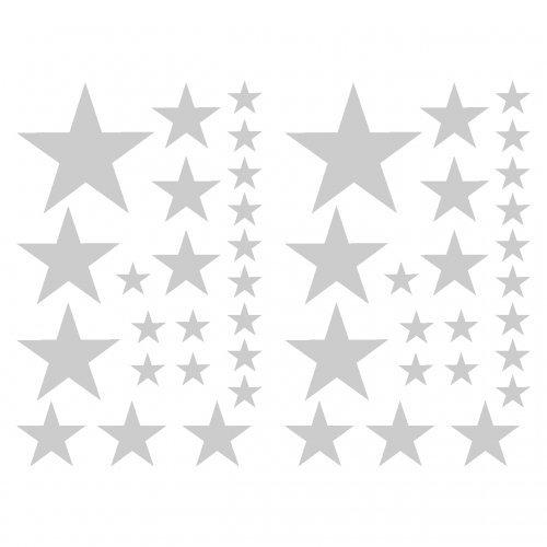 Estrella Etiqueta Conjunto el Relleno de Pegatinas, Efecto metálico Plateado 14x 2,5 cm, 6X 5 cm, 2X 7,5 cm, 1x 10 cm