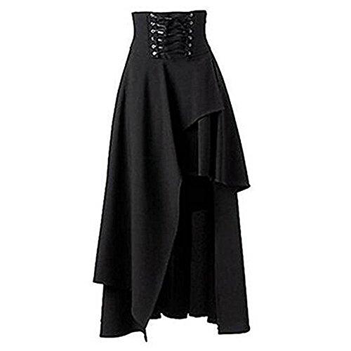 junkai Damen Gothic Rock Lolita Swing Röcke Steampunk Lang Elegant Bandage Maxirock Cocktail...