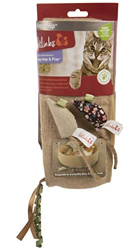 Petlinks, Happy Hide & Play, Reversible Crinkle Ring and 2 Cat Toys, Filled with Catnip and Silver Vine, Burlap Hideout Nook, With Ribbons and Rope