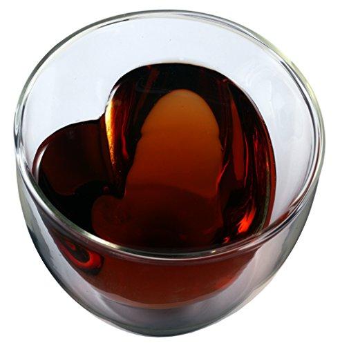 Feelino Celissimo 300ml doppelwandiges Teeglas mit Herzform innen, Thermoglas mit Schwebe-Effekt by