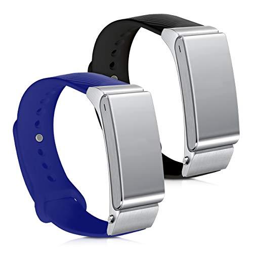 kwmobile 2X Pulsera Compatible con Huawei Talkband B2 - Brazalete de Silicona en Negro/Azul sin Fitness Tracker