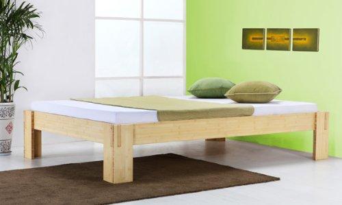 De madera de bambú de cama de Java de ropa de cama de bambú sin respaldo de 140 x 200 cm, 2x Nachttisch YANG natur, Höhe Bettkante 40cm