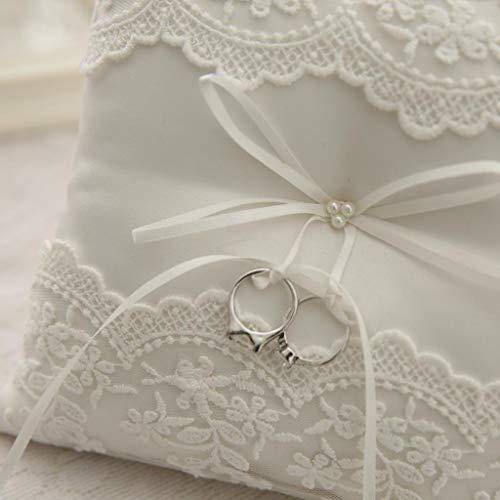 Homyl Hochzeit Ringkissen Ring Kissen Eheringe Brautkissen mit Satinband Bowknot Weiß - Typ 3 - Beige, 20 x 20 cm