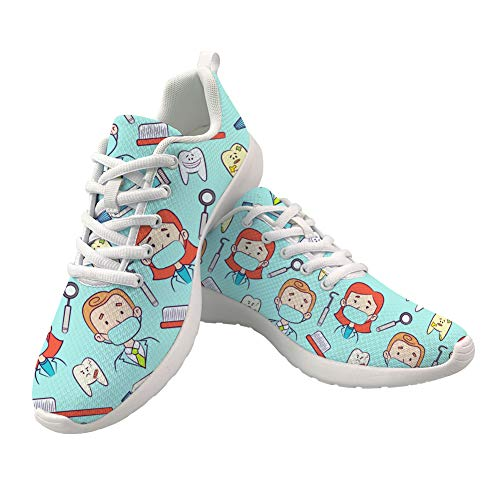 UOIMAG Cute Nurse Shoes Women Gift Fashion Trainer Lace Up Running Shoes Breathable Mesh Sports Sneaker Shoes 45EU