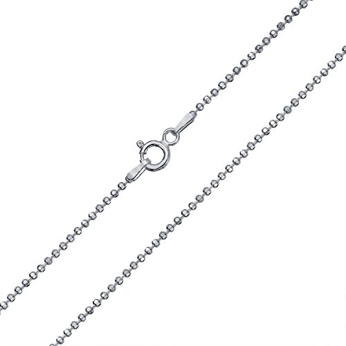 Diamond Cut Ball Bead Chain Sparkle Necklace For Women Solid Strong 150 Gauge Italian 925 Sterling Silver 16 Inch
