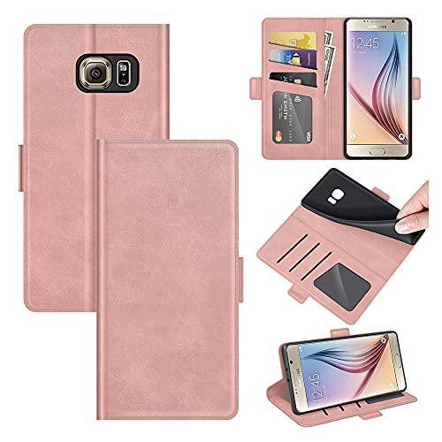 AKC Funda Compatible para Samsung Galaxy S6 Carcasa Caja Case con Flip Folio Funda Cuero Premium Cover Libro Cartera Magnético Caso Tarjetero y Suporte-Oro Rosa