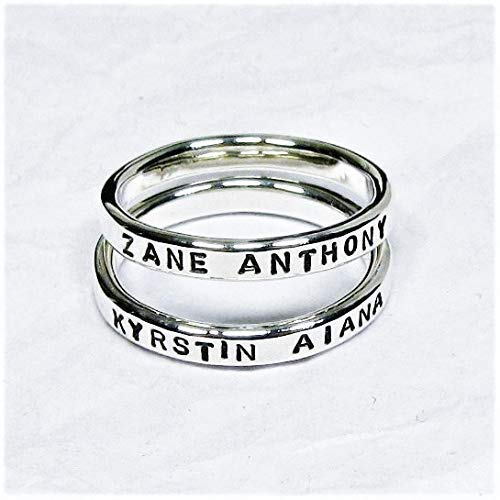 Personalized Sterling Silver Stacking Rings - Set of 2, 2.4 mm wide each