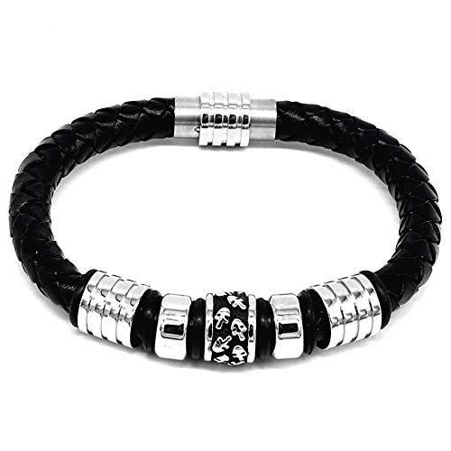 Fransande Pulsera de cuerda de cuero tejido negro de moda para hombre simple pulsera de acero de titanio