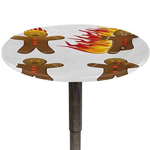 Table Cloth Round Gingerbread Man Patio Table Cover Gingerbread Man in Humorous Positions Caught on Fire Eaten Figures for Kitchen Dinning Party Caramel Red Yellow Diameter 70'