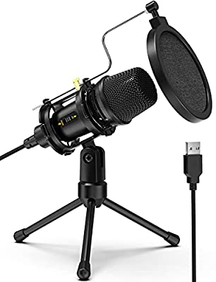 Computer Microphone,NJSJ USB Condenser Studio Microphone with Tripod Stand & Pop Filter for Zoom Skype Youtube Streaming Gaming Podcasting,Compatible with Windows iMac PC