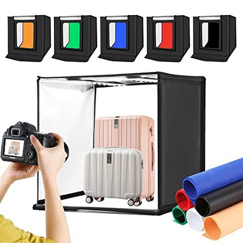 Caja de luz fotográfica Caja de tienda de tiro 60x60x60cm, PULUZ 60cm Cuboys y tiendas de luz Caja de estudio Softbox con2 cuentas de lámpara LED, 6 colores de telones de fondo, paño ligero suave