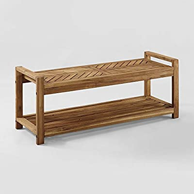 """Home Accent Furnishings 48"""" Chevron Acacia Wood Outdoor Patio Storage Bench - Brown"""