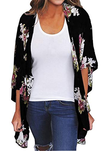 Finoceans Womens Floral Print Kimono Cardigans Loose Beach Cover Up Black XXXL