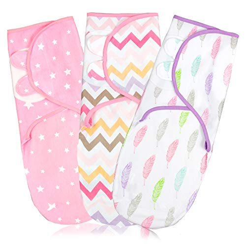 Baby Swaddle Wrap Blanket for Newborn amp Infant 03 Month Swaddlers Sack with Adjustable Wings 3 Pack Breathable Sleep Wrap Sack for Girls Pink