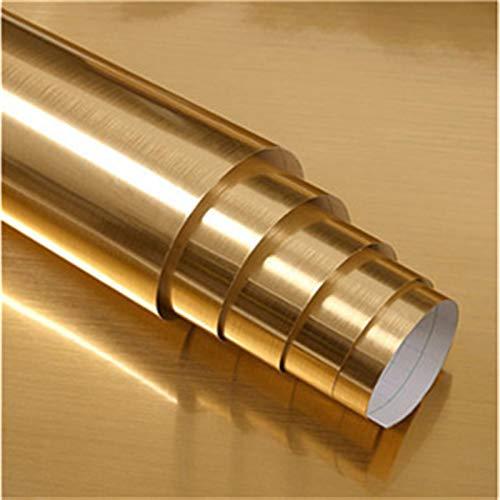 Impermeable fácil aplicación fondo de pantalla ext SilverBrushed metal del espejo del oro Nevera autoadhesivo de renovación del papel pintado de muebles Etiqueta puerta del refrigerador película decor