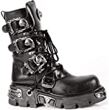 New Rock Newrock 391 S1 Black Metallic Reactor Goth Biker Unisex Black Boots 4