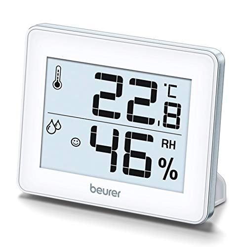 Beurer HM16 Thermo-Hygrometer | Indoor Climate Control for a Healthier Home | Displays Room Temperature and Humidity | Easy to interpret Smiley face sequencing
