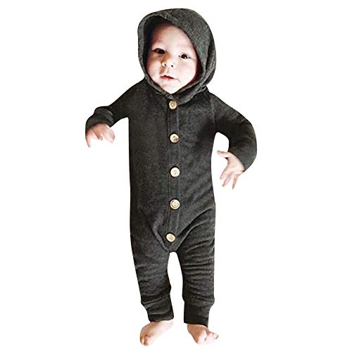SUCES SUCES Baby Outfits, Mädchen Jungen Einfarbig Kapuze Lange Ärmel Strampler Langarm Kapuzen Overall Winter Dicker Warmer Hooded Knopf Mantel (Schwarz,100)