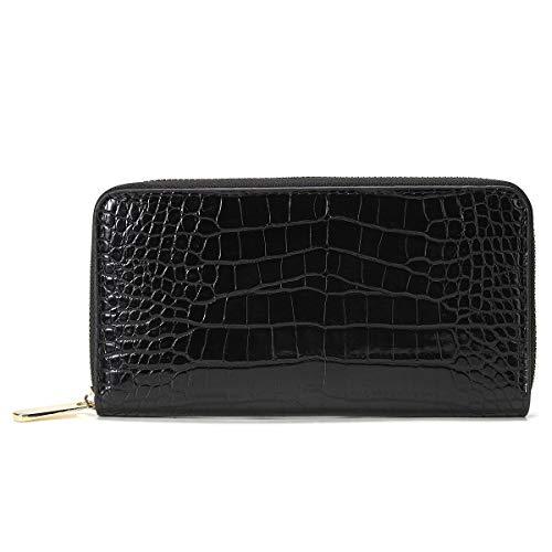 Zip Around Wallets for Women Clutch Orangizer Purse with RFID Blocking-Crocodilien Brillant Vegan Leather (Black)