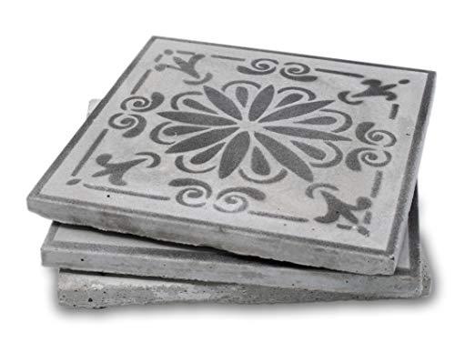 alego Topfuntersetzer aus Beton (3 Stück) mit schwarzem Muster, Betonfliesen, 16x16 cm, wasserfest, hitzebeständig