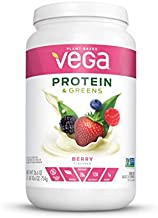 Vega Protein and Greens, Berry, Plant Based Protein Powder Plus Veggies - Vegan Protein Powder, Keto-Friendly, Vegetarian, Gluten Free, Soy Free, Dairy Free, Lactose Free (26 Servings, 1lb 10.6oz)