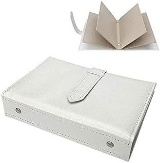 Yerwal Earrings Organizer Book-Portable Stud Hook Dangly Earring Holder-Pu Leather Earring Storage Case-42 Pairs-White