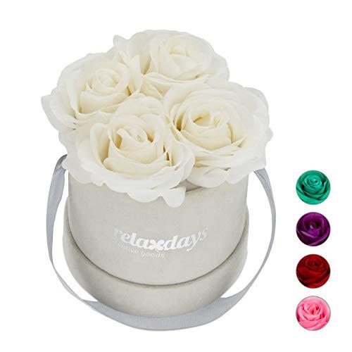 Relaxdays Okrągła skrzynka na kwiaty z 4 sztucznymi różami, szara skrzynka na ostatnie 10 lat, prezentowa, bukiet dekoracyjny, biały, 14 x 12 x 12 cm
