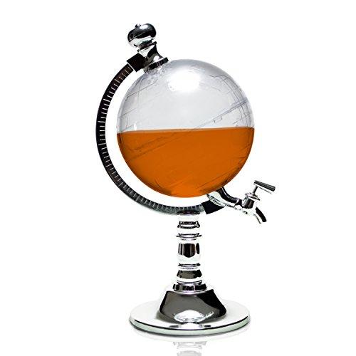 Erogatore per bibite motivo 'Mappamondo' - Trasparente 1 litro - Dispenser cocktail per la casa e le feste - Grinscard