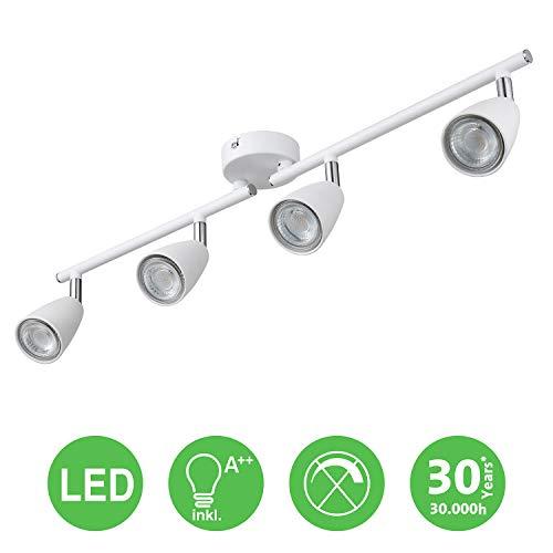 IMPTS LED Deckenleuchte Spotleuchte schwenkbar Weiss 4 Flammig, inkl. 4 x 3W Leuchtmittel GU10 LED, 250LM,230V, IP20,Warmweiß, LED Deckenlampe Deckenspot Deckenstrahler