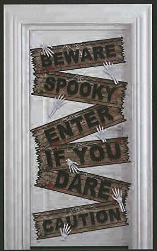 Caution Tape Party Decorations Halloween Door Cover Crime Scene Decor Wall Art 30 x 60 Inch (Wooden Beware Enter If You Dare)