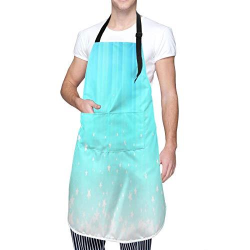 DAHALLAR Ajustable Colgante de Cuello Personalizado Delantal Impermeable,Pie de página de estrellas salpicando,Babero de Cocina Vestido para Hombres Mujeres con 2 Bolsillos Centrales
