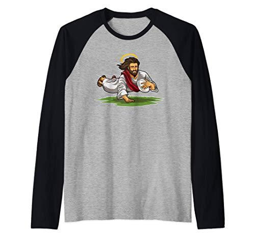 Gesù giocare a rugby - Divertente Rugger Fan Maglia con Maniche Raglan
