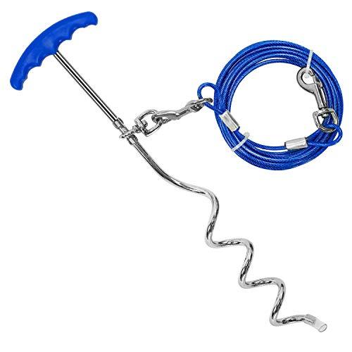 Petphabt 20ft Anlegepflock mit Hundeleine 6 Meter, Anlegepflock mit Tie Out Leinen Edelstahl Bodenanker mit Hundeleine für Draußen, Anlegespirale mit Laufleine Tie-Out Kabel Heavy Duty