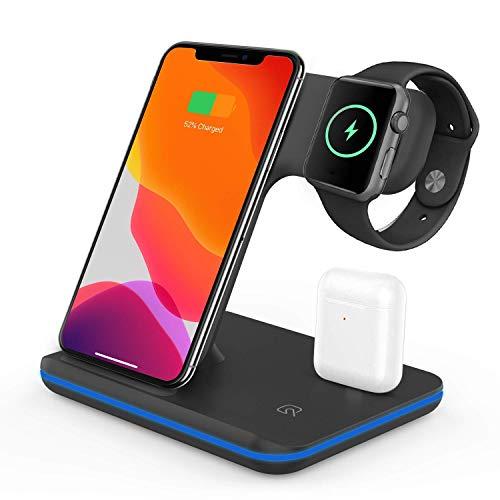 VESSTT Cargador inalámbrico, Cargador inalámbrico rápido Tres en uno, para iPhone 11/11 Pro MAX/X/XS MAX/Apple Watch Series 1/2/3/4/5 Airpods 2, Samsung Galaxy S20, Xiaomi 10 Pro etc (Negro)