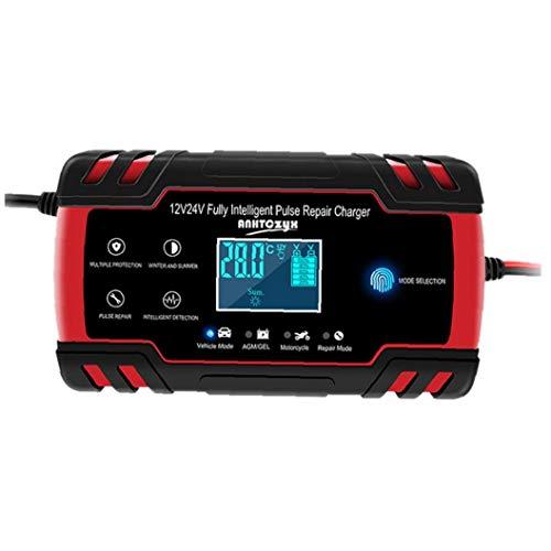 nJiaMe Cargador de batería de Coche 12 / 24V 8A Pantalla táctil LCD de Pulso de reparación rápida de energía de Carga Seca mojada Plomo Ácido Pantalla LCD Digital Seguro y fiable