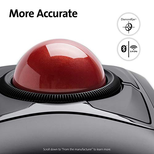 Kensington Expert Mouse - Wireless Ergonomic TrackBall Mouse for PC, Mac and Windows with Ambidextrous Design, Optical Tracking, Scroll Ring & 55 mm Ball – Red (K72359WW)