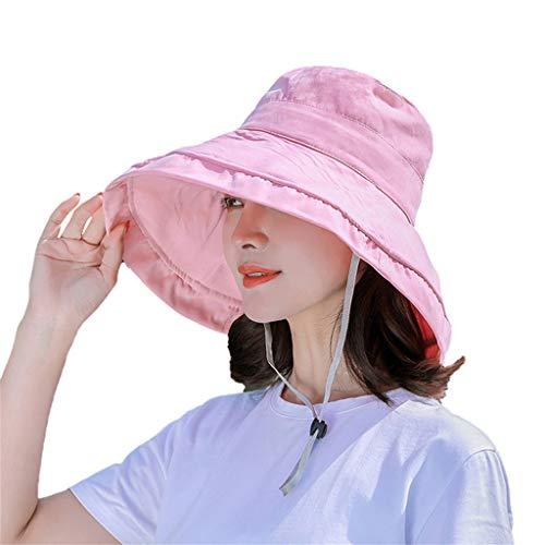 Damen Faltbarer Sonnenhut Sommerhut UPF 50 Breite Krempe mit Kinnriemen mit Sonnen Schutz Fischerhut Breite Krempe hüte großer Rand-Anti-UV (Pink)