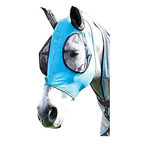 Zidao Fly Mask Cheval Protection des Yeux Oreilles Nose Protection Contre Les Insectes léger et Confortable Anti-UV Anti-Insectes,Bleu