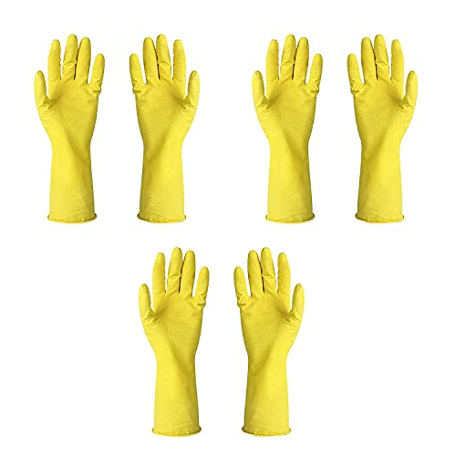 Reusable Household Rubber Cleaning Gloves,Dishwashing Gloves, Kitchen Cleaning, Working, Painting, Gardening, Pet Care  3 Pair Gloves  (Size M, Yellow)