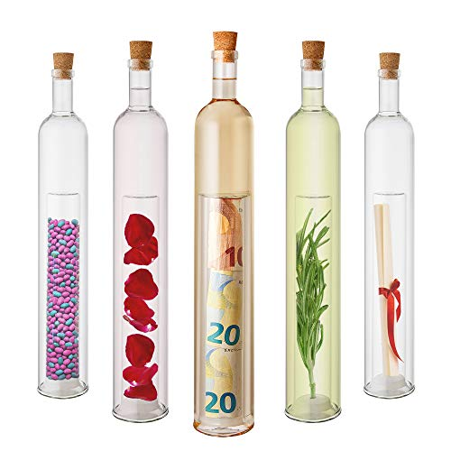 Casa Vivente Geschenkflasche mit befüllbarem Hohlraum, Flasche als Verpackung für Geld und Gutscheine, Aus Glas, Füllmenge: ca. 400 ml