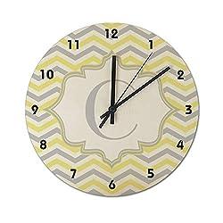 12 Inch Silent Non-Ticking Wall Clock, Modern Yellow Gray Ivory Chevron Pattern Customization Round PVC Clock Easy to Read, Home/Office/Kitchen/School Clocks
