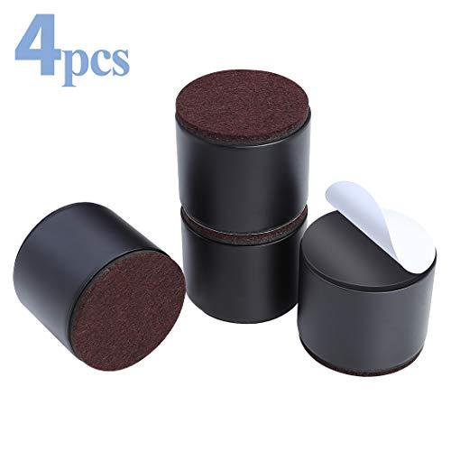 Ezprotekt 5cm Betterhöhung 4 Stück massiver Stahl selbstklebend Möbelerhöhung oder Bettlift schafft zusätzliche 5cm Höhe für Tisch, Stuhl, Schreibtisch oder Sofa Riser 5cm schwarz