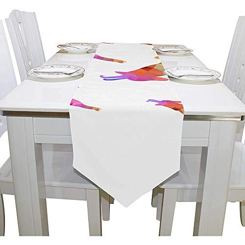 sunnee-shop Cubierta de Mesa Cabra Popular Dibujos Animados Moderno Camino de Mesa Granja Manteles para Cocina Comedor Sala de Estar Banquete Mesa Superposiciones 13x90 Pulgadas