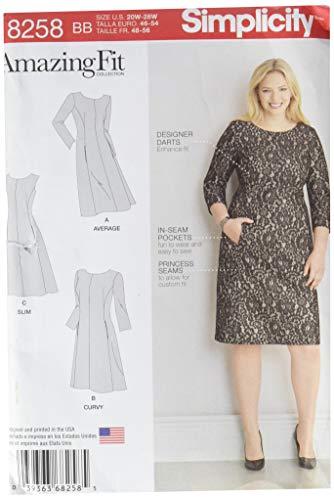 Simplicity 8258 Women's Sheath Dress Sewing Pattern, 3 Styles, Sizes 20W-28W
