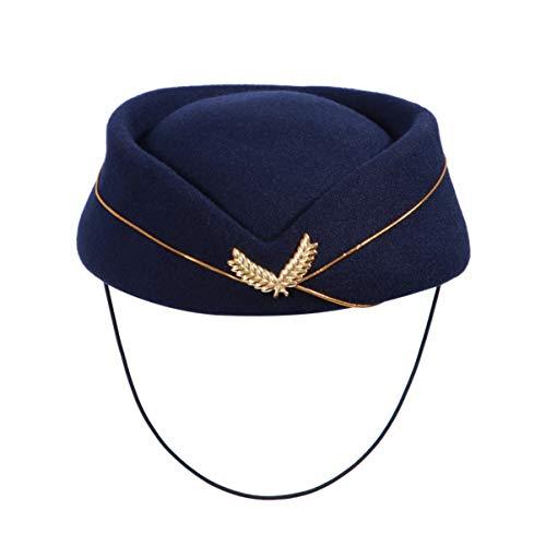 KESYOO 1 Unid Gorra de Azafata de Aire Gorro de Azafata de Fieltro de Lana Gorra de Azafata de Aerolnea para Mujeres Adultos Damas Talla M (Azul Marino 2)