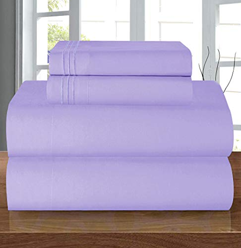 Elegant Comfort Luxury Soft 1500 Thread Count Egyptian 3-Piece Premium Hotel Quality Wrinkle Resistant Coziest Bedding Set, All Around Elastic Fitted Sheet, Deep Pocket, Twin/Twin XL, Lavender