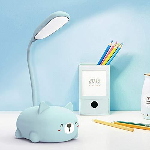Gato de dibujos animados LED Protección para los ojos Lámpara de lectura Usb Escritorios LED recargables Libro Luz de mesa para niños Dormitorio para niños Azul