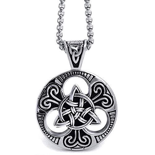 HAQUIL Celtic Knot Triquetra Necklace - Stainless Steel Celtic Knot Charm Pendant - PU Leather Cord, 23.6'