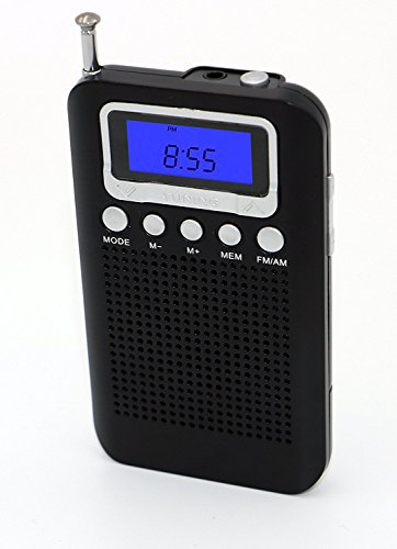 Pocket Portable AM/FM Radio, Digital 12/24H Time Display Radio, Battery Operate Tuning Stereo Personal Radio, Portable Pocket Size Radio Receiver with Earphone Plug, Loud Speaker, Alarm Clock & Timer